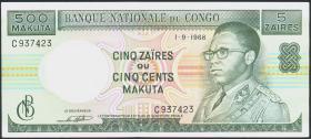 Kongo / Congo P.013b 5 Zaires = 500 Makuta 1968 (3+)