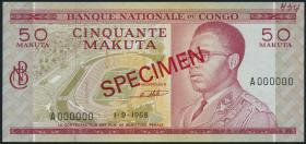 Kongo / Congo P.011s1 50 Makuta 1968 Specimen (1)