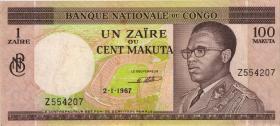 Kongo / Congo P.012a 1 Zaire = 100 Makuta 1967 (3)