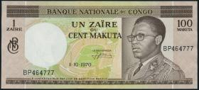 Kongo / Congo P.12b 1 Zaire = 100 Makuta 1970 (1-)