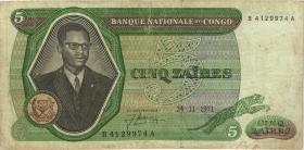 Kongo / Congo P.014a 5 Zaires 1971 (3-)