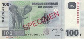 Kongo / Congo P.098s 100 Francs 2007 Specimen (1)