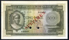 Kongo / Congo P.003 5000 Francs 1963 Specimen (1-)