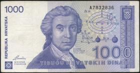 Kroatien / Croatia P.22 1000 Dinara 1991 (3)
