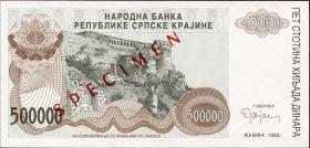 Kroatien Serb. Krajina / Croatia P.R23 500.000 Dinara 1993 Specimen (1)