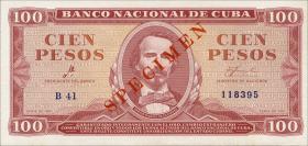 Kuba / Cuba P.099s 100 Pesos 1961 Specimen (1)