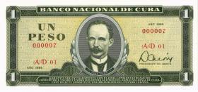 Kuba / Cuba P.102b 1 Peso 1985 Nr. 7 niedrige Nummer (1)