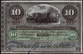 Kuba / Cuba P.049c 10 Pesos 1896 (2)
