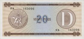 Kuba / Cuba P.FX36 20 Pesos o.J. Exchange Certificate Serie D (1)