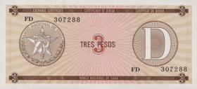 Kuba / Cuba P.FX33 3 Pesos o.J. Exchange Certificate Serie D (1)