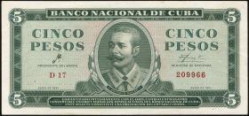 Kuba / Cuba P.095a 5 Pesos 1961 (1-)