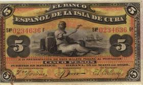 Kuba / Cuba P.048b 5 Pesos 1896 (2)