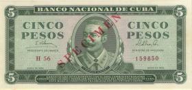Kuba / Cuba P.095cs 5 Pesos 1965 Specimen (1)