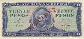 Kuba / Cuba P.097as 20 Pesos 1961 Specimen (1)