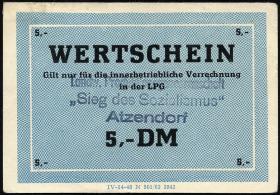 """L.003a.5 LPG Atzendorf """"Sieg des Sozialismus"""" 5 DM (1)"""