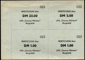 "L.016 LPG Burgstädt ""Thomas Müntzer"" Viererblock 1,1,5,20 DM (1)"