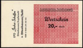 "L.027.6 LPG Ettenhausen/Kupfersuhl ""Frohes Schaffen"" 20 Mark (1)"