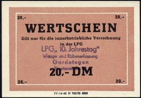 """L.033.52 LPG Gardelegen """"10. Jahrestag"""" 20 DM (1)"""