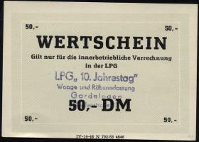 """L.033.53 LPG Gardelegen """"10. Jahrestag"""" 50 DM (1)"""