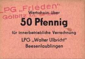 """L.038.9 LPG Golbitz """"Frieden"""" 50 Pfennig (1)"""