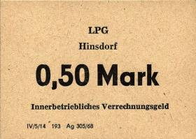 "L.057a.1 LPG Hinsdorf ""August Bebel"" 0,50 Mark (1)"