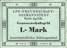 """L.105.2 LPG Ossmannstedt """"Freundschaft"""" 1 Mark (2)"""