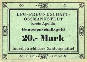 """L.105.5 LPG Ossmannstedt """"Freundschaft"""" 20 Mark (1)"""