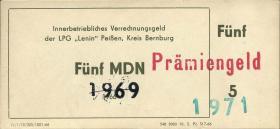 "L.108.11 LPG Peißen ""Lenin"" 5 MDN (1-)"