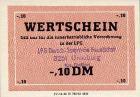 """L.142.1 LPG Unseburg """"Deutsch-Sowjetische Freundschaft"""" 0,10 DM (1)"""