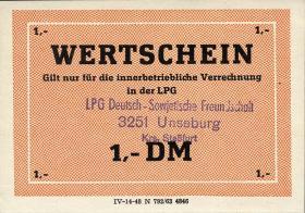 """L.142.3 LPG Unseburg """"Deutsch-Sowjetische Freundschaft"""" 1 DM (1)"""