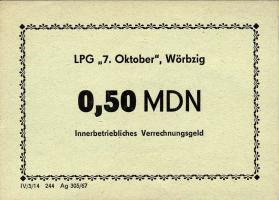 """L.152.9 LPG Wörbzig """"7.Oktober"""" 0,50 MDN (1)"""