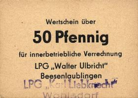"""L.153a.1 LPG Wohlsdorf """"Karl Liebknecht"""" 50 Pfennig (1)"""
