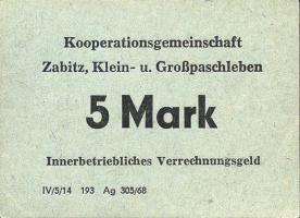 L.156.II Kooperationsgemeinschaft Zabitz,Klein- u. Großpaschleben 5 Mark (1)