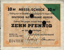 Leipziger Messe Scheck 10 Pfennig 1951 (1-)