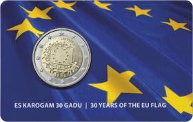 Lettland 2 Euro 2015 30 Jahre EU-Flagge Coincard