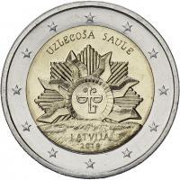Lettland 2 Euro 2019 Aufgehende Sonne - Wappen Lettlands