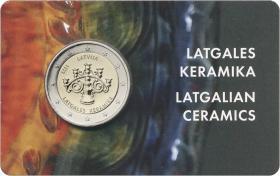 Lettland 2 Euro 2020 Keramik Lettgallens Coincard