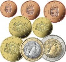 Lettland Eurokursmünzensatz 2014 (lose)