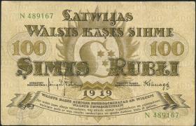 Lettland / Latvia P.07f 100 Rubel 1919 (3)