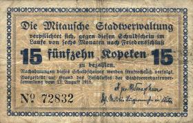 Lettland / Latvia LE 28a: 15 Kopeken 1915 Mitau (3-)