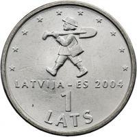 Lettland 1 Lats 2004 EU-Beitritt