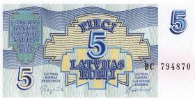 Lettland / Latvia P.37 5 Rubel 1992 (1)