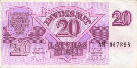 Lettland / Latvia P.39 20 Rubel 1992 (3+)