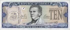 Liberia P.27a 10 Dollars 2003 (1)