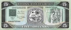 Liberia P.20 5 Dollars 1991 (1)