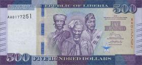 Liberia P.36 500 Dollars 2016 (1)