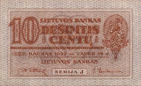 Litauen / Lithuania P.10a 10 Centu 1922 (1)