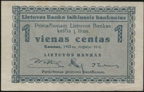 Litauen / Lithuania P.01a 1 Centas 1922 (1)