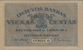 Litauen / Lithuania P.07a 1 Centas 1922 (1)