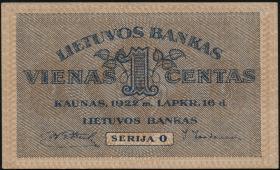 Litauen / Lithuania P.07a 1 Centas 1922 (2)